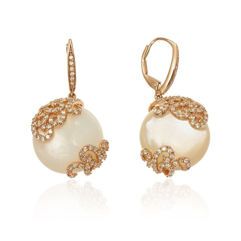 Cercei cu perle placati cu aur
